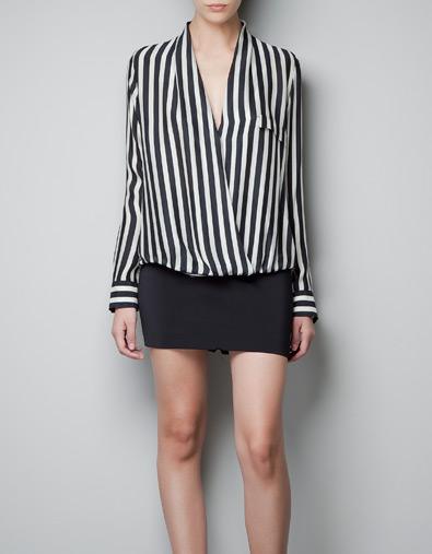 Zara camisa cruzada rayas 39,95euros