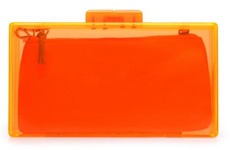 Bolso caja transparente naranja Zara