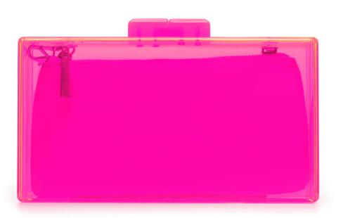 Bolso caja transparente metacrilato fucsia Zara