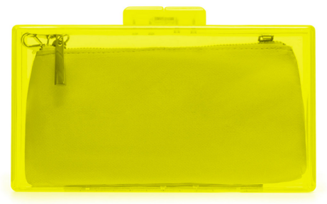Bolso caja transparente metacrilato Zara amarillo lima