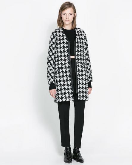 abrigo pata de gallo Zara
