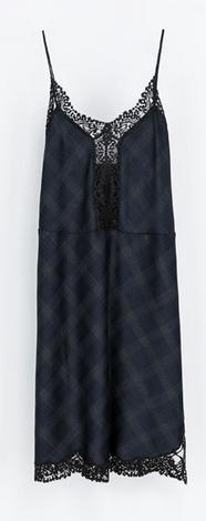 vestido lencero cuadros Zara 79,95