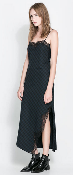 vestido largo cuadros lencero Zara 89,95