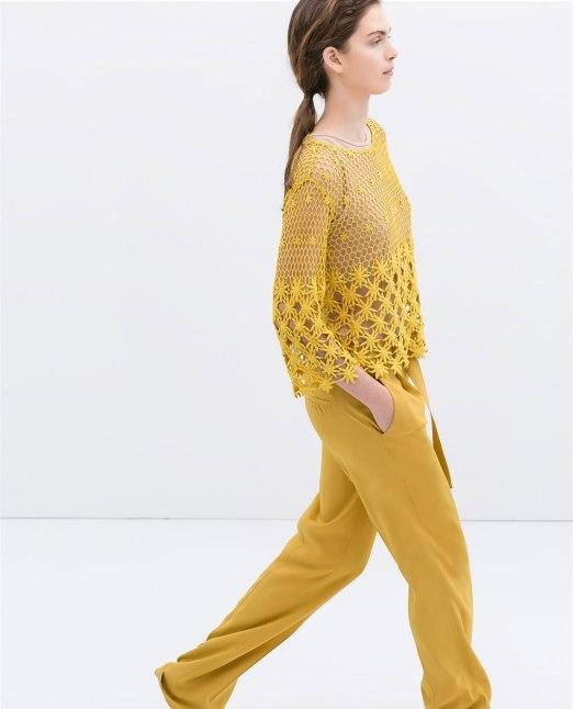 blusa bordada amarilla zara