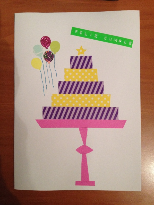 postal cumpleaños tarta