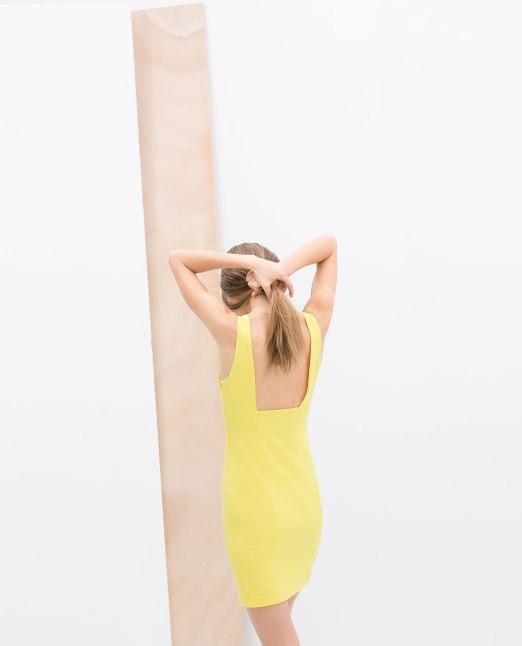 vestido amarillo Trafaluc